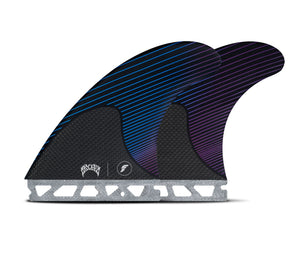 Futures Mayhem Honeycomb/Carbon Tri Fin Set-Blue/Violet-Large