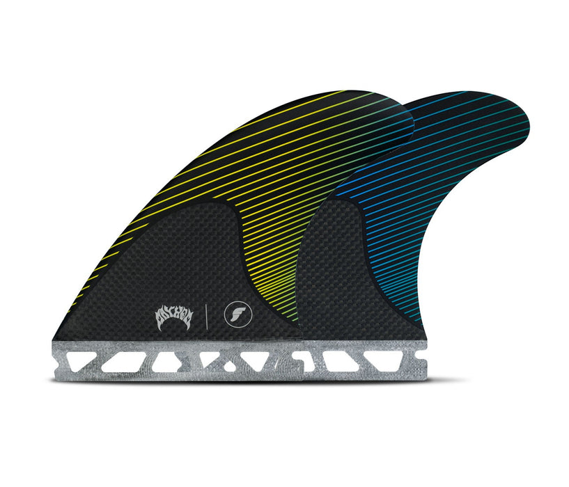 Futures Mayhem Honeycomb/Carbon Tri Fin Set-Yellow/Blue-Medium