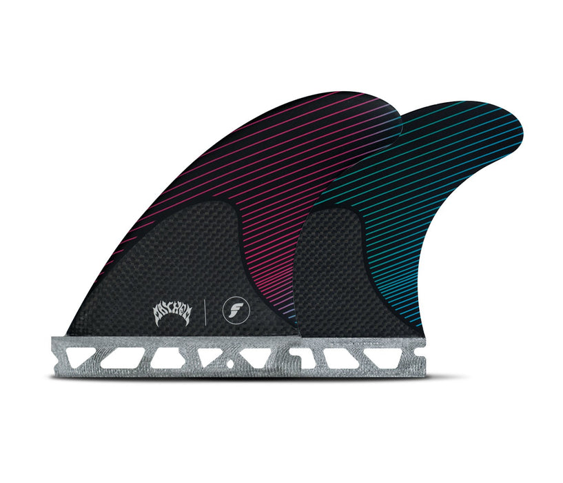 Futures Mayhem Honeycomb/Carbon Tri Fin Set-Pink/Teal-Small