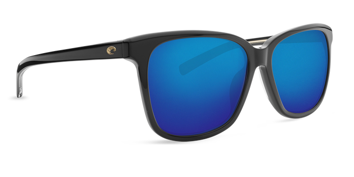 Costa May Shiny Sunglasses-Black/Blue Mirror 580G