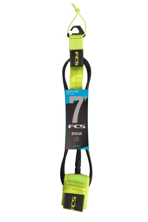 FCS Regular Essential Leash-7' x 7mm-Fluro Green