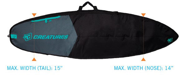Creatures Shortboard Day Use Bag-Charcoal/Black-7'1""