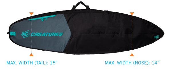 Creatures Shortboard Day Use Bag-Charcoal/Black-6'3""