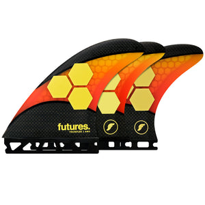 Futures AM2 Techflex Tri/Quad Fin Set-Orange/Red-Large