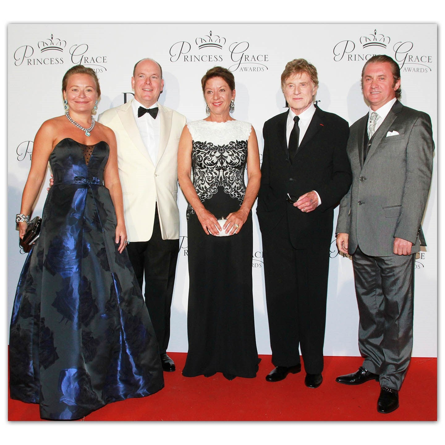 L-R: Maria Soldier, HSH Prince Albert II of Monaco, Sibylle and Robert Redford, Alex Soldier. Jewelry: Alex Soldier. Dress: Alex Teih.