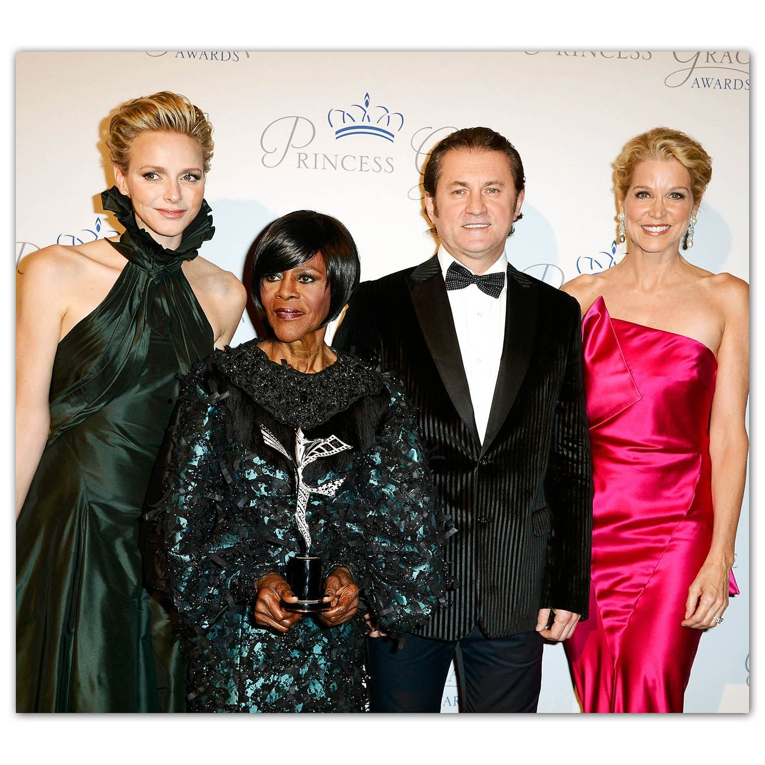 NEW YORK, NY – Princess Charlene of Monaco, Paula Zahn and Alex Soldier present Cicely Tyson with Princess Grace Award, designed and created by Alex Soldier.