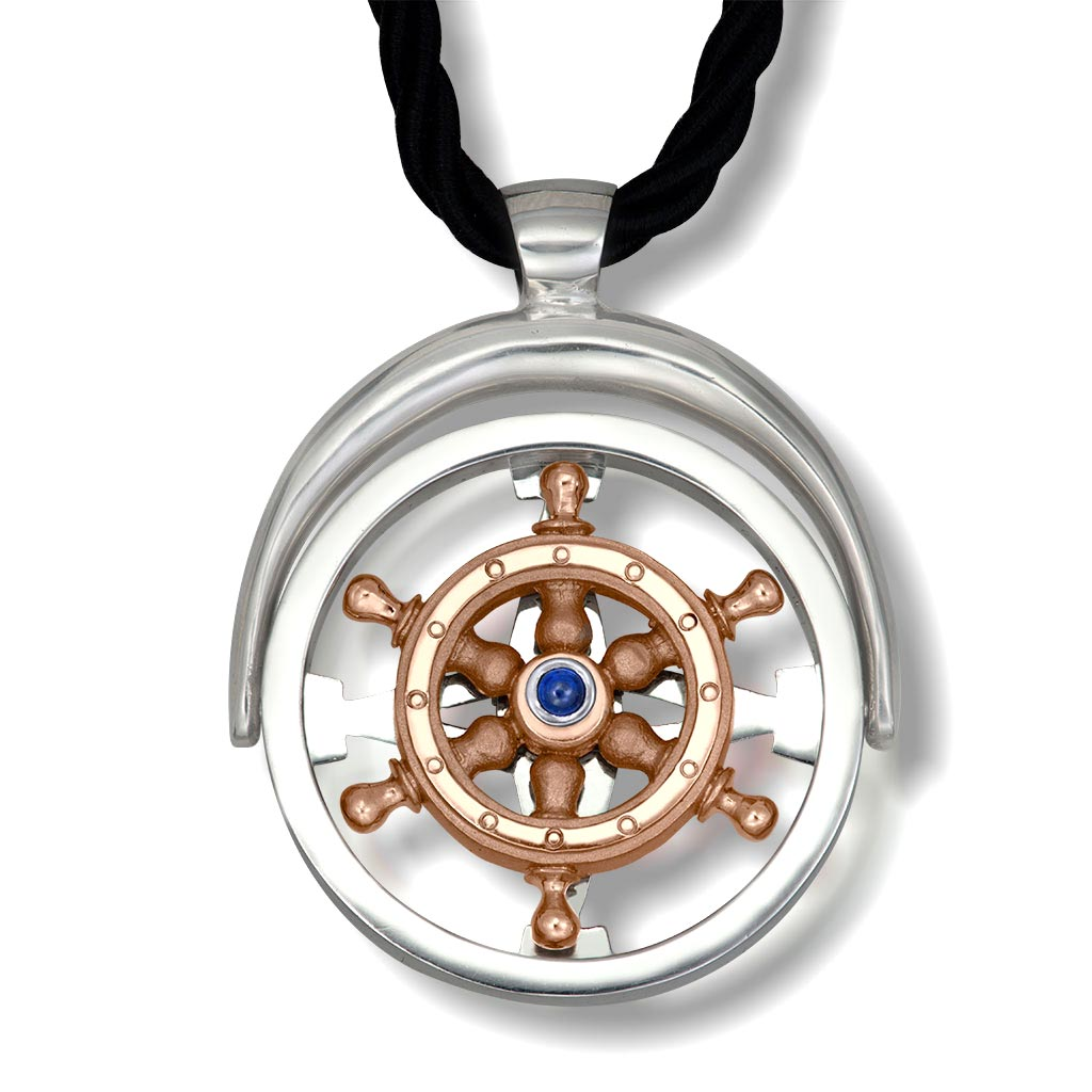 Gold Navigator Pendant/Necklace with Sapphire