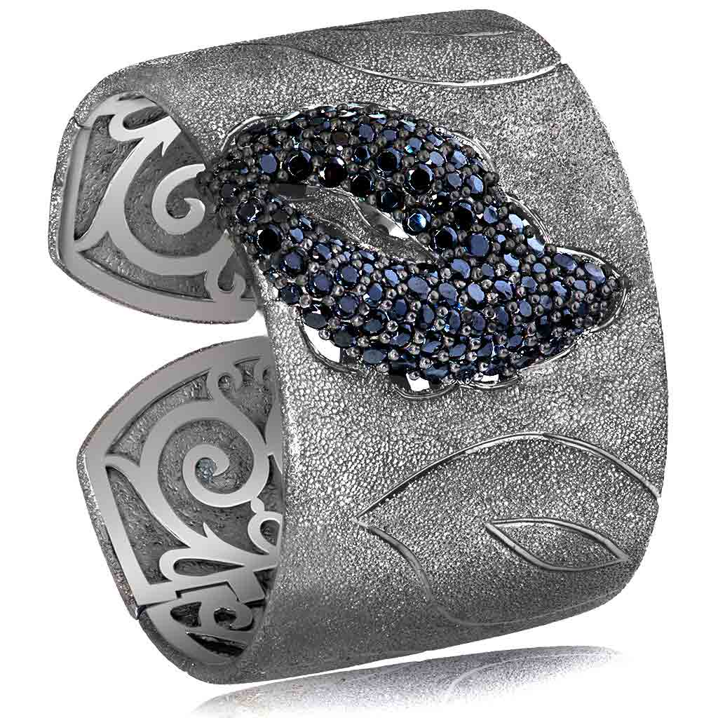 Silver Leaf Cuff Bracelet with Spinel