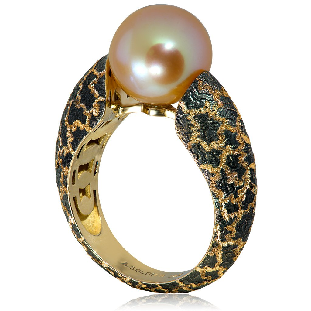 Gold Ring with Freshwater Peach Pearl
