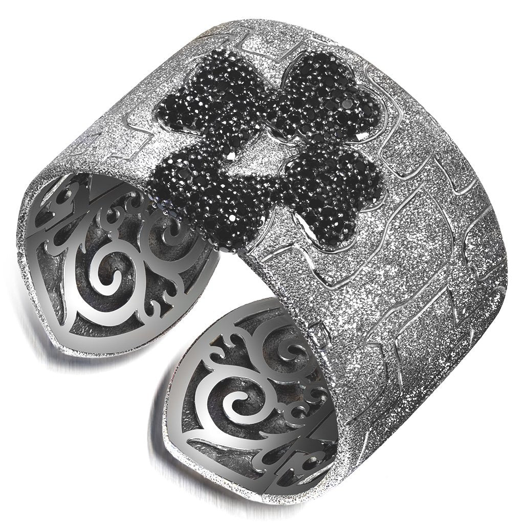 Silver Crossroad Black Cuff Bracelet with Black Spinel
