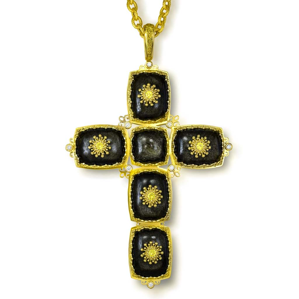 Gold Grand Cross Pendant Necklace with Obsidian