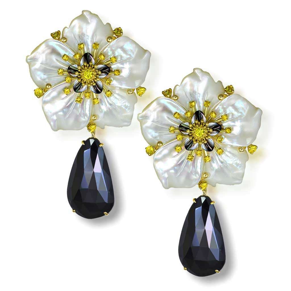 Gold Blossom Convertible Earrings with Carved Mother Of Pearl & Spinel