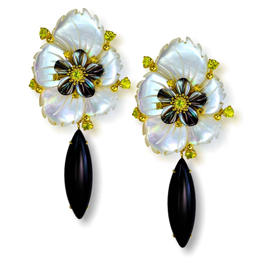 Gold Blossom Convertible Earrings with Carved Mother Of Pearl & Onyx