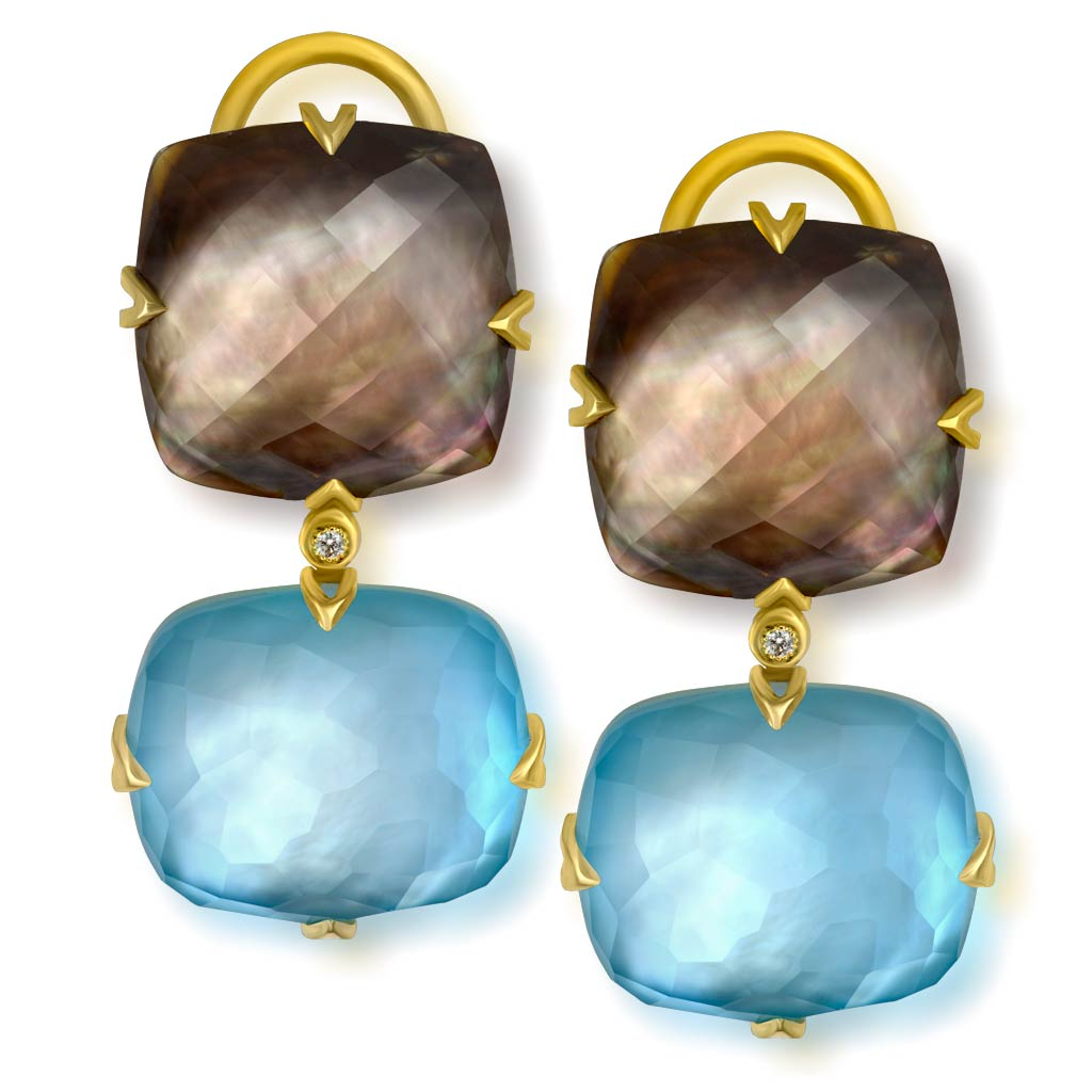 Gold Denim Drop Earrings with Mother Of Pearl & Diamonds