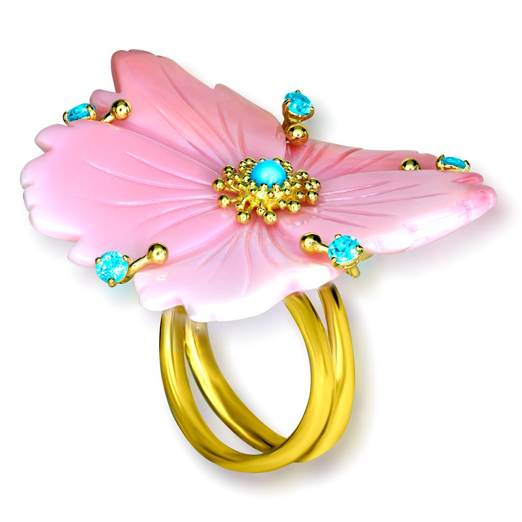 Gold Blossom Ring with Carved Mother Of Pearl