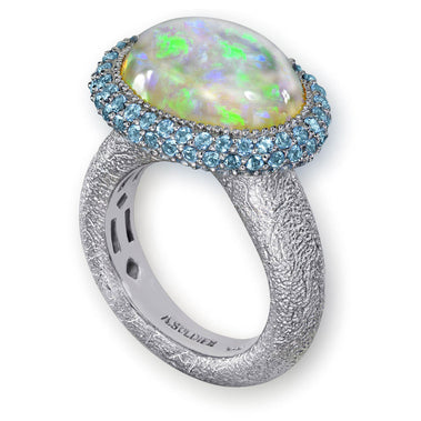 Opal And Blue Topaz Cocktail Ring In White Gold