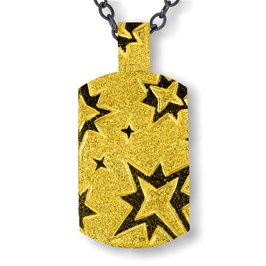 Sterling Silver Gold Platinum Star Tag Pendant Necklace On Chain