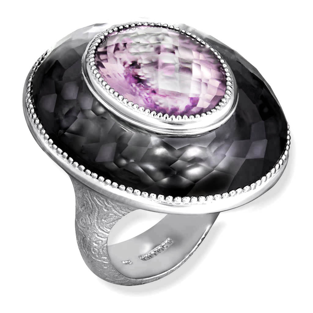 Silver Galactica Ring with Rose de France Amethyst