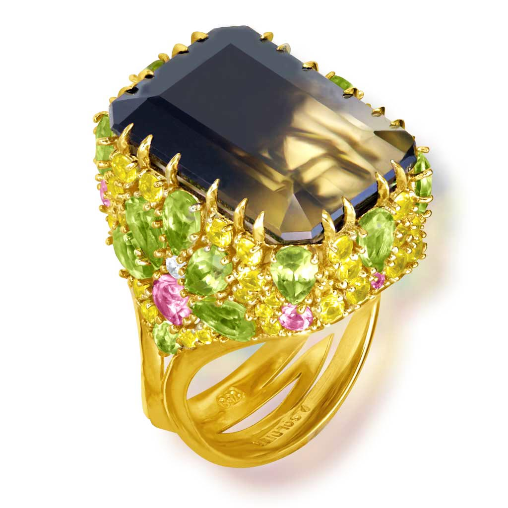 Gold Blossom Ring with Quartz, Peridot & Sapphire