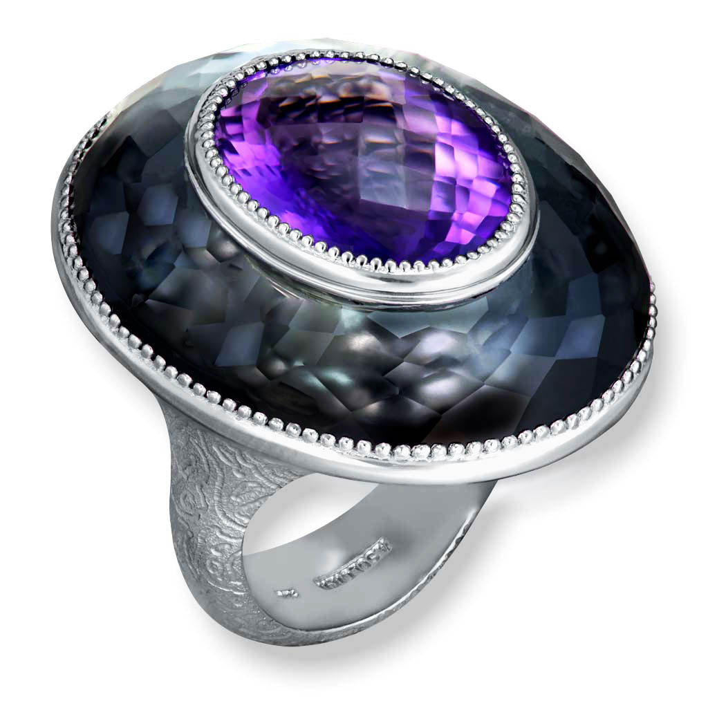 Silver Galactica Ring with Amethyst, Hematite & Quartz