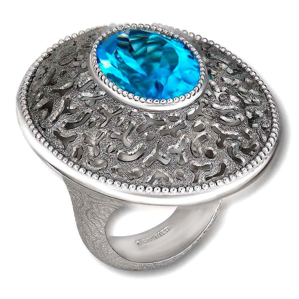 Silver Galactica Ring with Blue Topaz