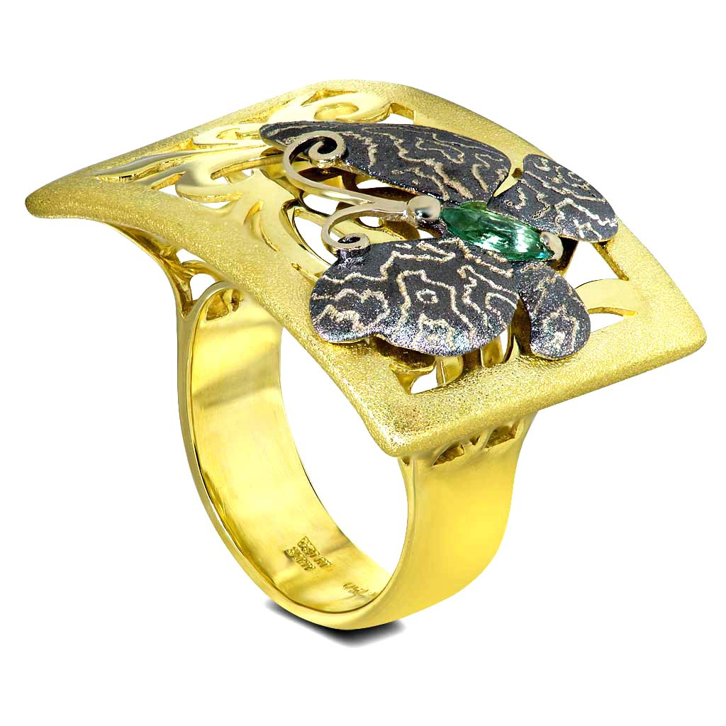 Gold Butterfly Ring with Tourmaline