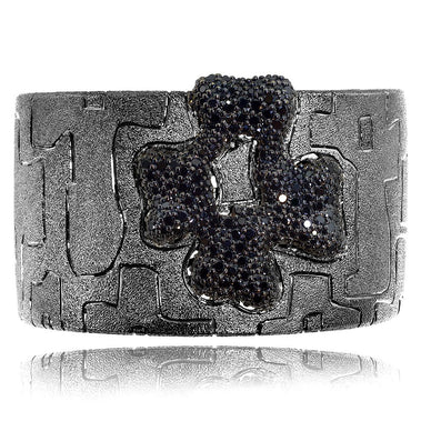 Sterling Silver Black Crossroad Pattern Cuff Bracelet with Spinel