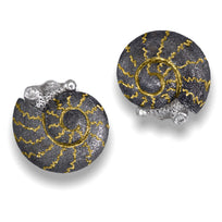 Blackened Gold Baby Snail Earrings with White Diamonds