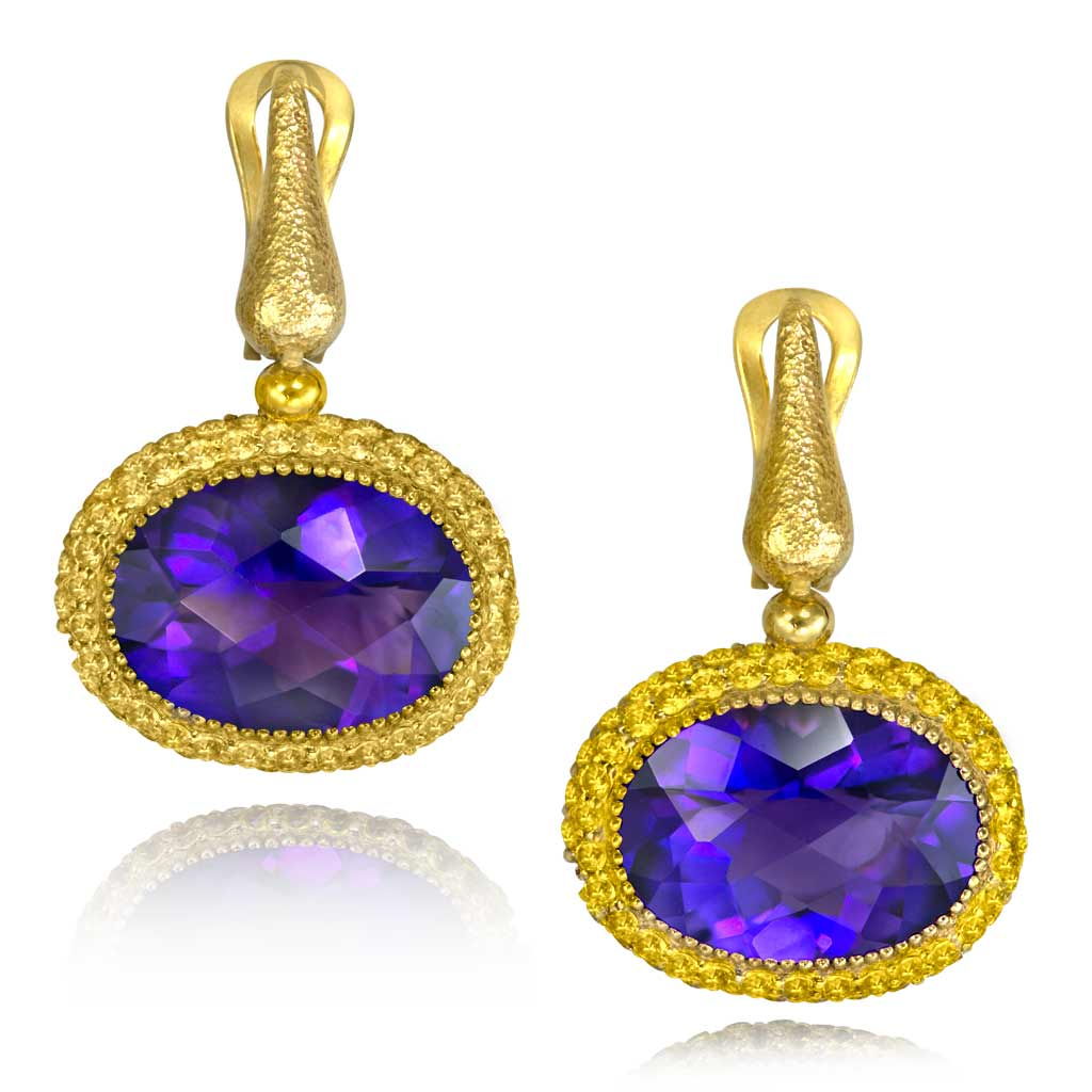 Gold Cocktail Drop Earrings With Amethyst & Sapphires