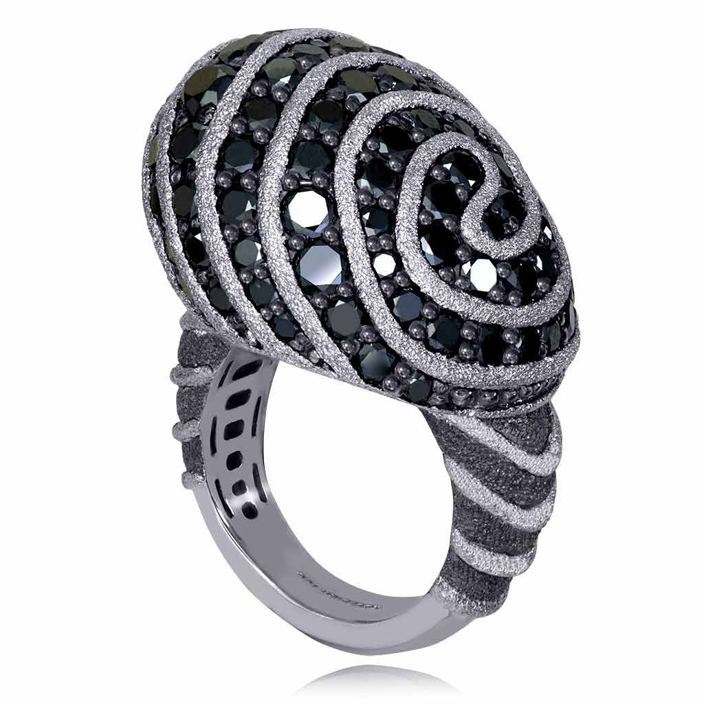 Gold Fine Lace Ring with Black Diamonds
