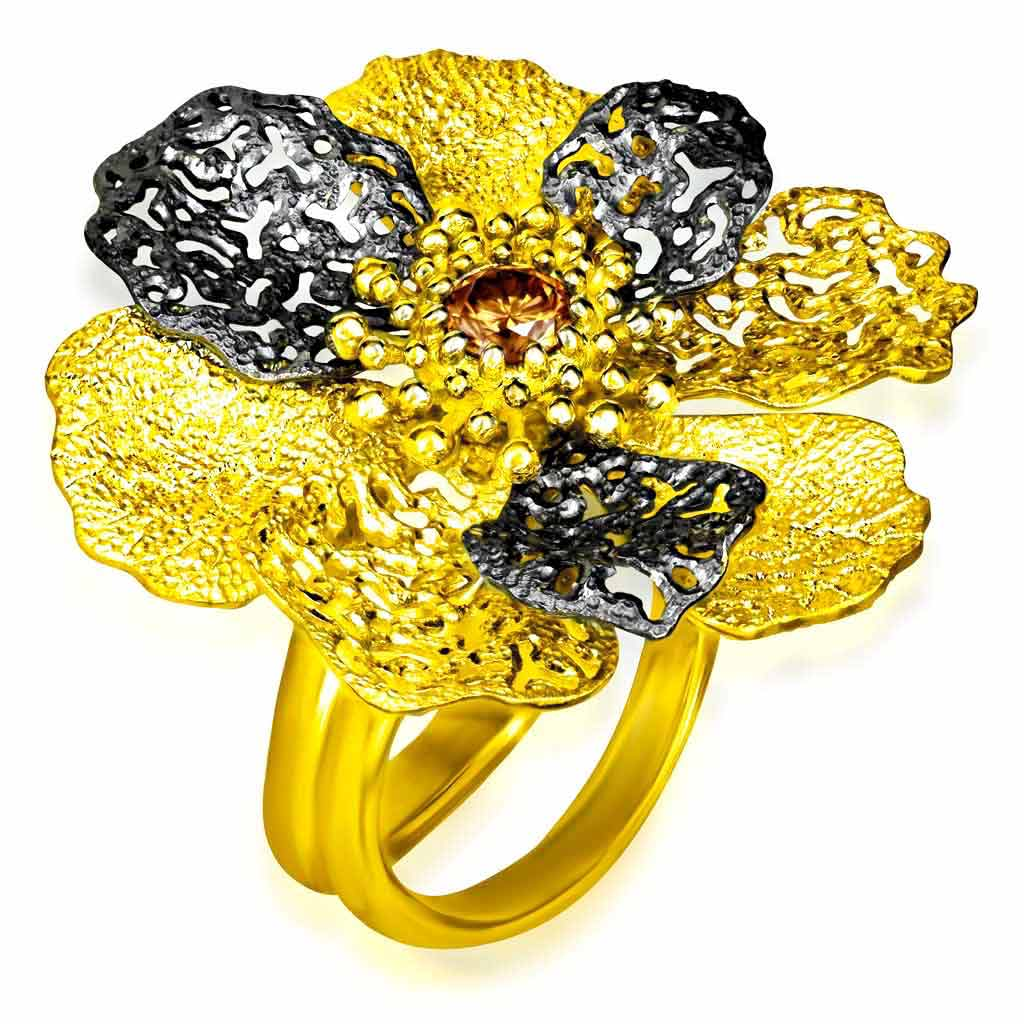 Gold Coronaria Ring with Champagne Diamond