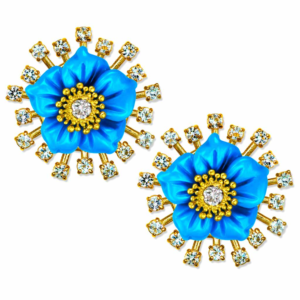 Gold Baby Blossom Earrings with Carved Turquoise & Diamonds