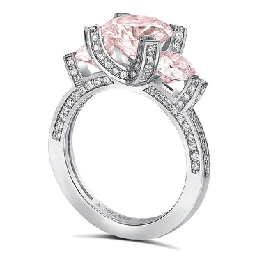 Princess Morganite Diamond Trinity Engagement Ring