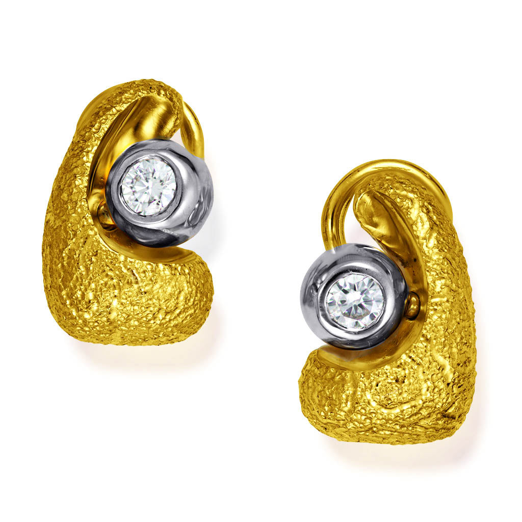 Yellow Gold Modern Art Earrings with Diamonds