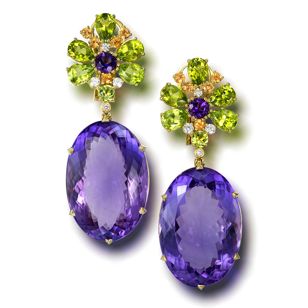 Gold Blossom Drop Earrings with Oval Amethyst & Peridot