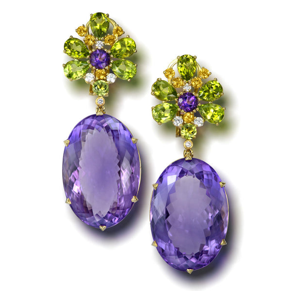 Gold Blossom Earrings with Light Amethyst & Peridot