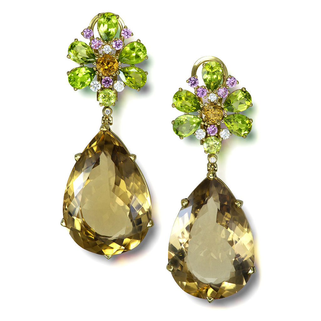 Gold Blossom Grand Pear Earrings with Champagne Quartz