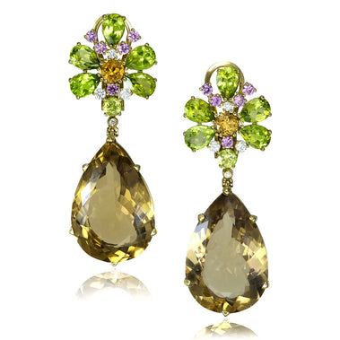 Champagne Quartz, Peridot, Pink Sapphire And Diamond Blossom Drop Earrings In Yellow Gold