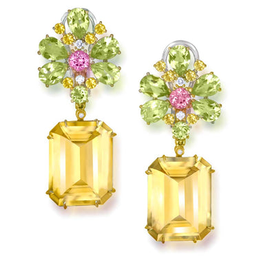 Citrine Lemon Quartz Pink Topaz Diamond Gold Blossom Earrings