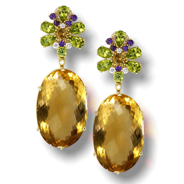 Citrine, Peridot, Amethyst And Diamond Blossom Drop Earrings In Yellow Gold