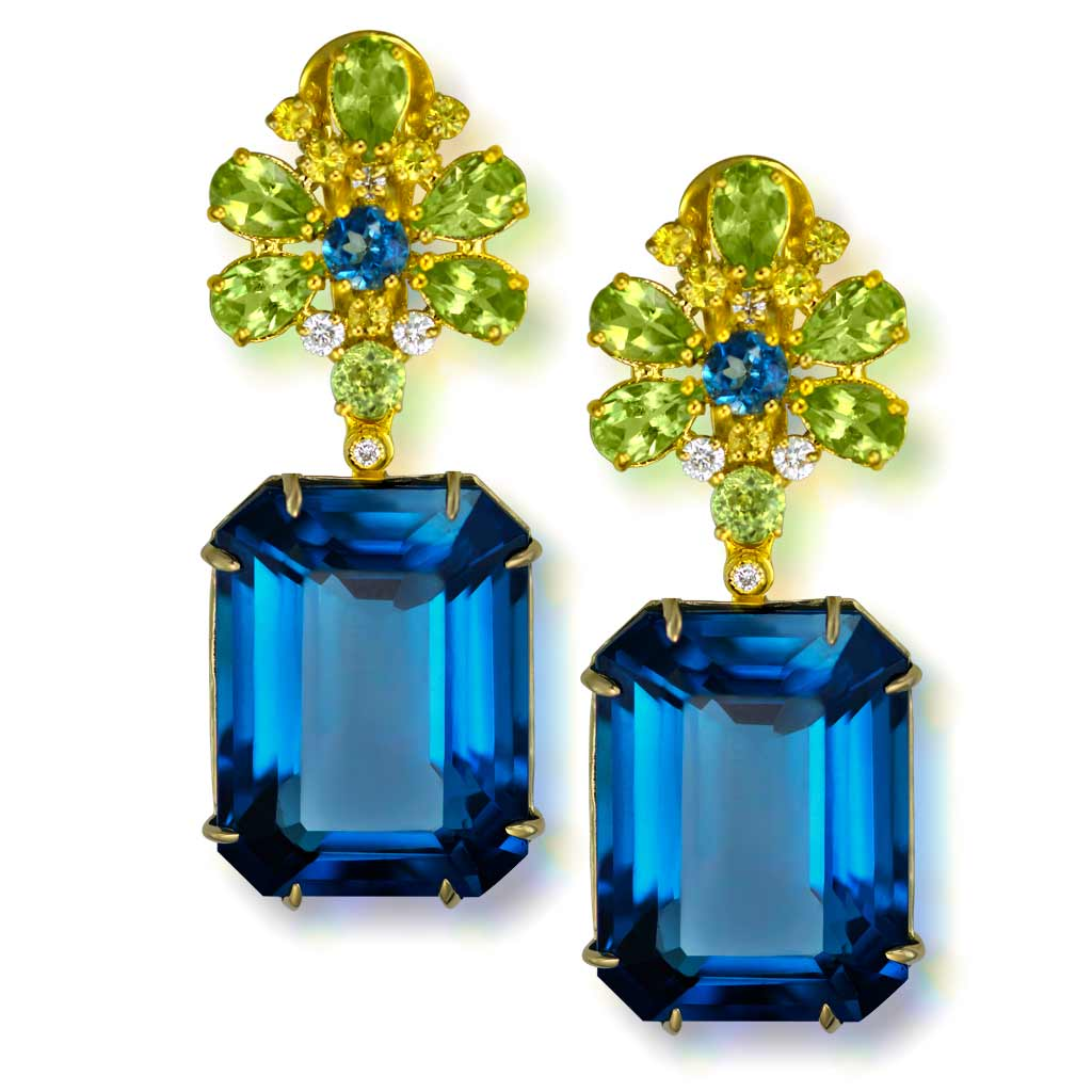 Gold Blossom Earrings with London Blue Topaz