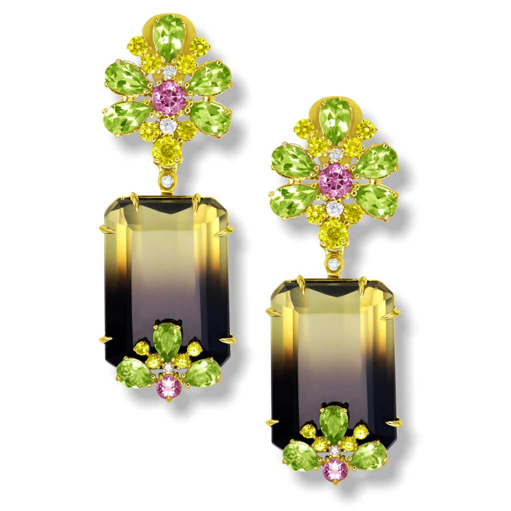 Gold Blossom Earrings with Quartz, Peridot & Sapphire