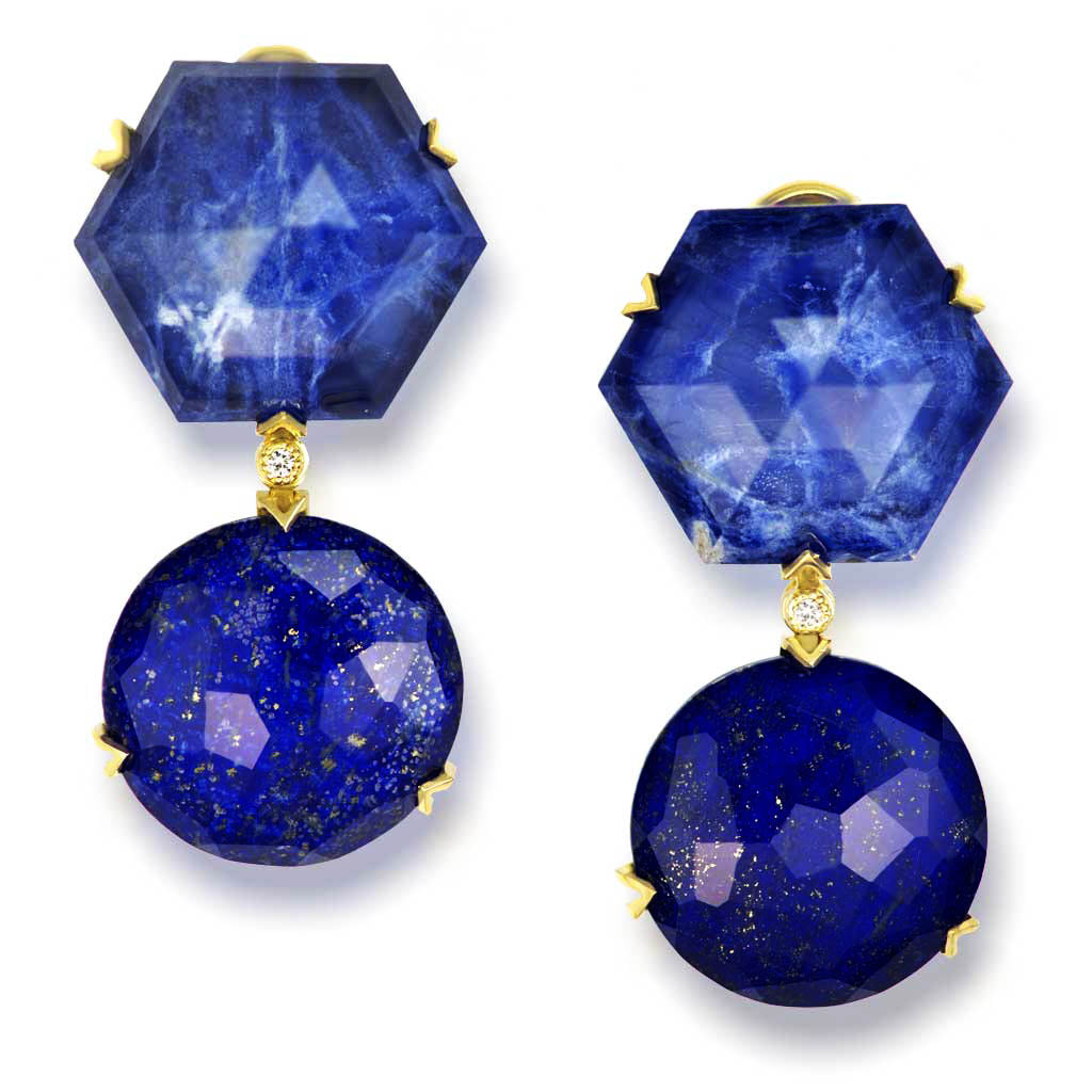 Gold Denim Drop Earrings with Lapis Lazuli & Diamonds
