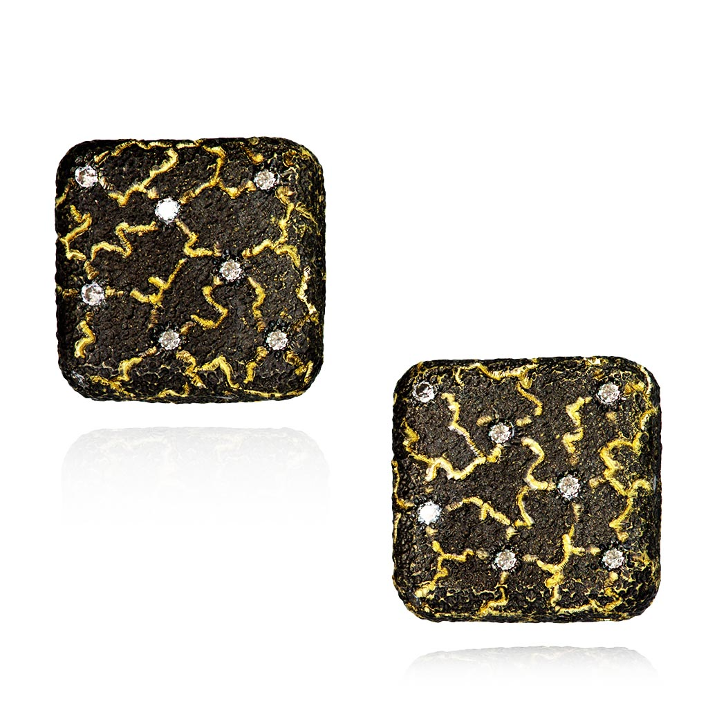Gold Lava Mushroom Stud Earrings with Diamonds