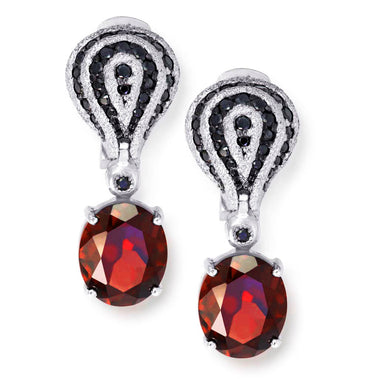 Garnet Spinel White Gold Twist Earrings