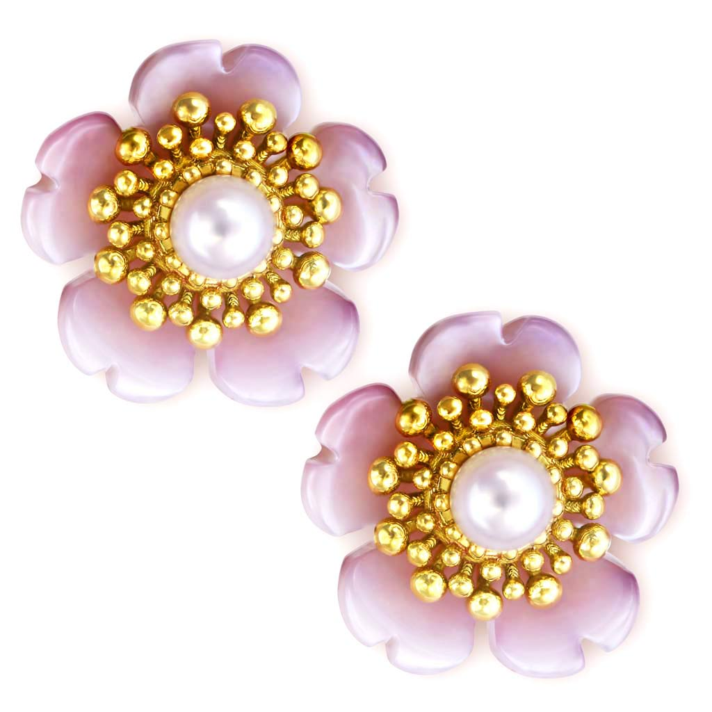 Gold Blossom Stud Earrings with Pearls