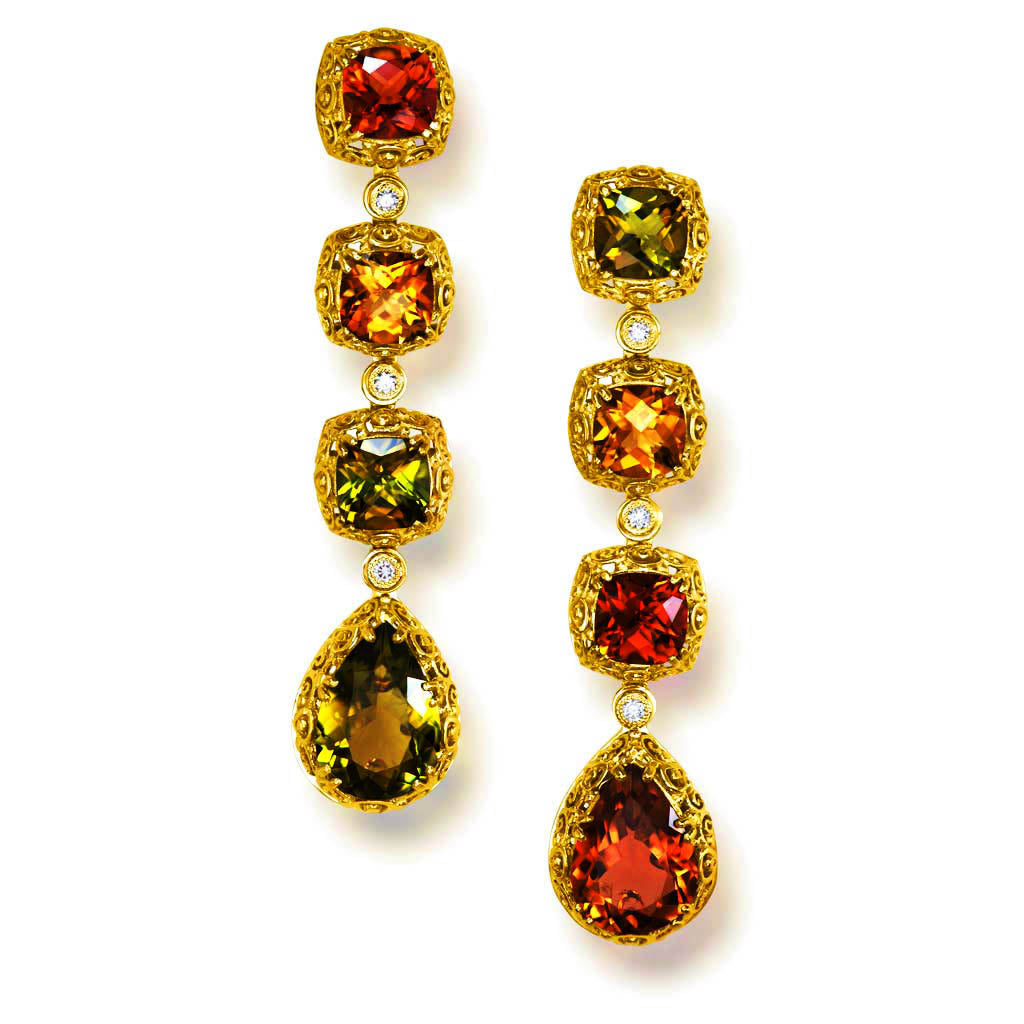 Gold Byzantine Long Drop Earrings with Tourmalines