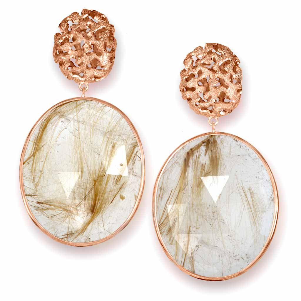 Rose Gold Moneta Drop Earrings with Rutilated Quartz