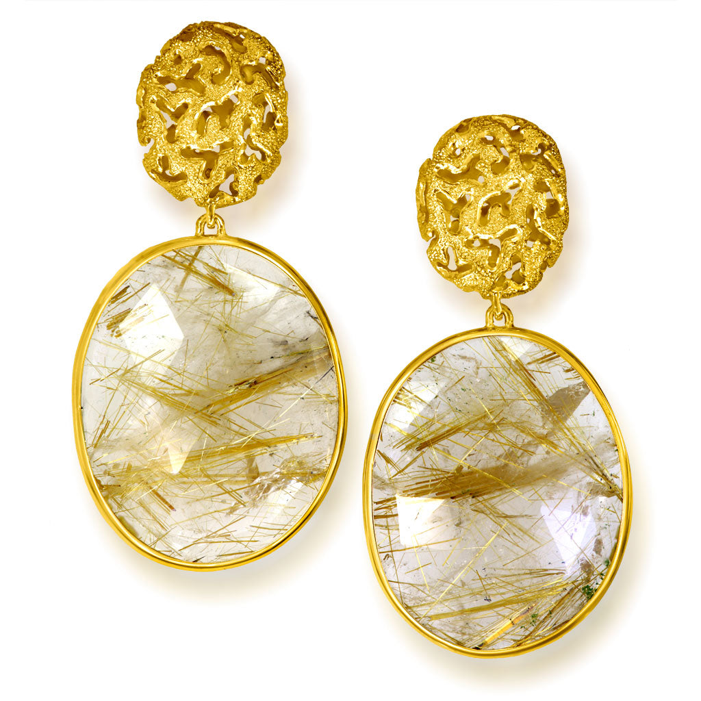 Rutilated Quartz Gold Moneta Drop Earrings