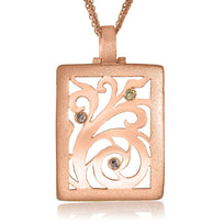 Gold Ornament Contrast Texture Pendant with Diamonds